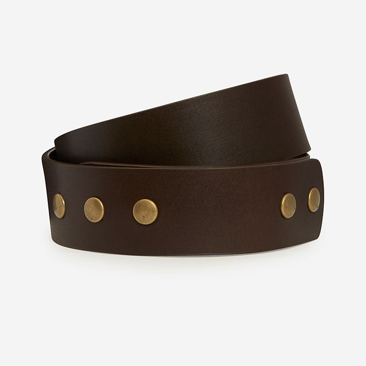Buckleless Snap Belt - Brown Bridle Belt