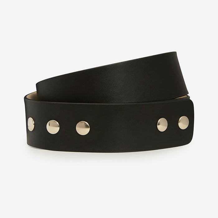 Buckleless Snap Belt - Black Faux Belt