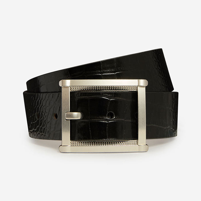 Striking Rectangle - Black Crocodile Print