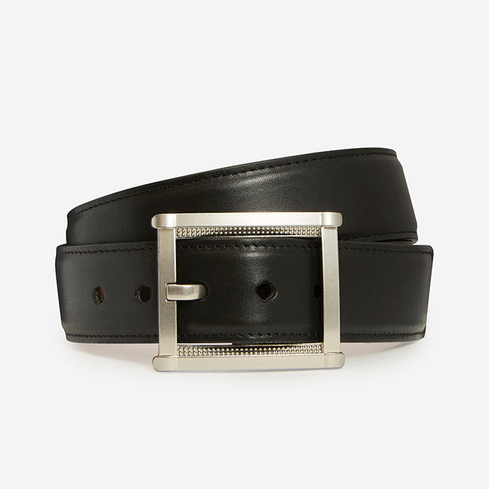 Remarkable Rectangle - Black & Silver (Fine Grain Leather)