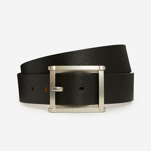 Fancy Rectangle - Black Pebble Grain Belt