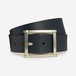 Fancy Rectangle - Navy Pebble Grain Belt