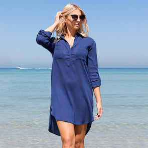 French Navy Popover Shirt Dress