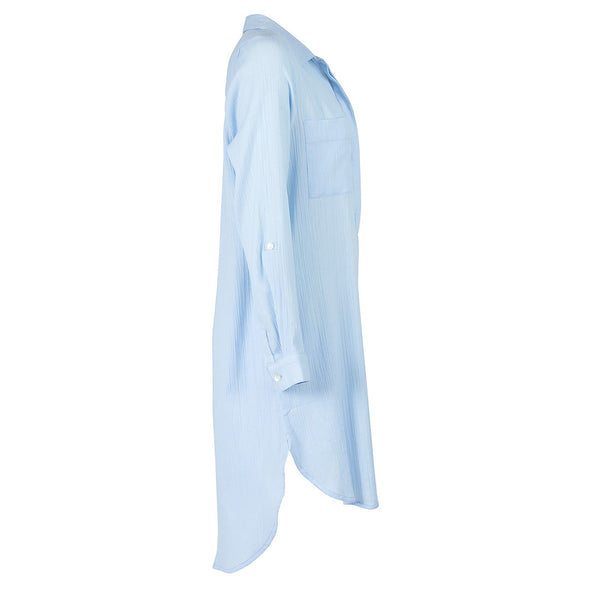 Sky Blue Popover Shirt Dress