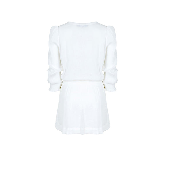 White Shirred Tunic