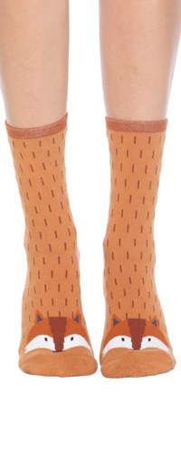 Fox, Non-skid Slipper Socks, Women's Crew