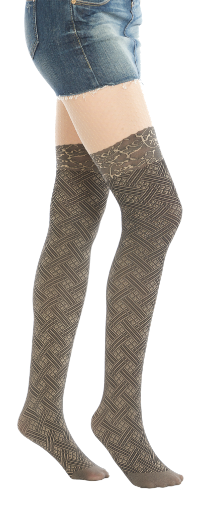 Woven Faux Thigh High
