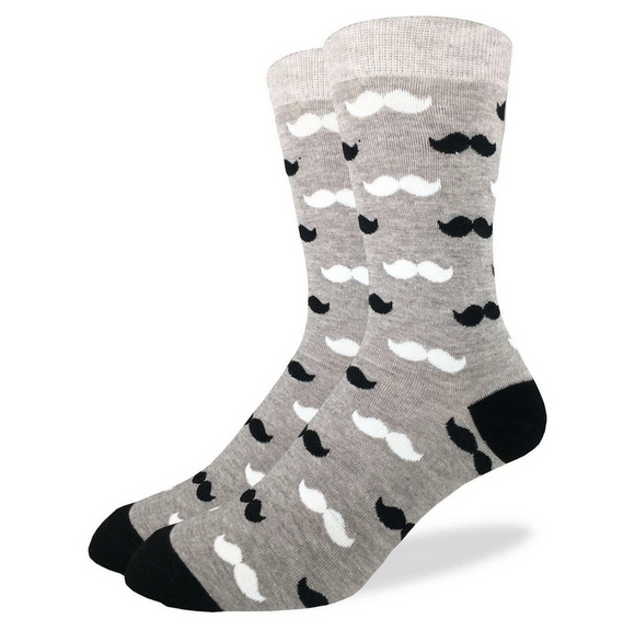 Good Luck Sock Men's Black & Grey Moustache