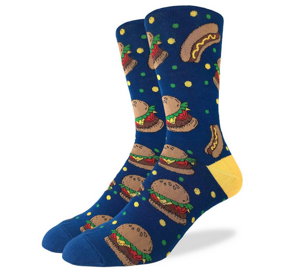 Burgers & Hotdogs Men's Good Luck Sock, crew