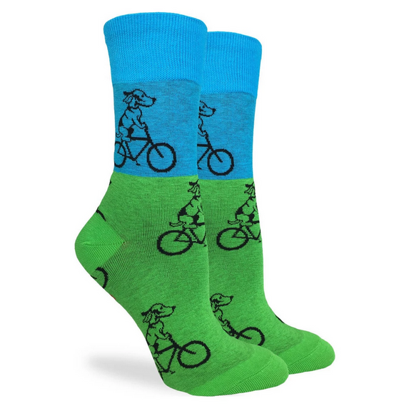 Good Luck Sock Women's Green & Blue Dogs Riding Bikes