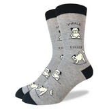 Yoga Pug, Large (7-12 Men's) Crew