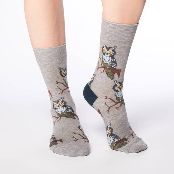Perching Owls, Medium (5-9 Women's) Crew