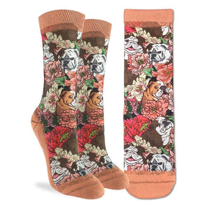 Floral English Bulldog, Medium (5-9 Women's) Active Fit Crew