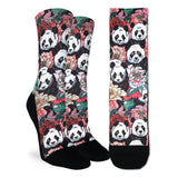 Good Luck Sock Women's Floral Pandas
