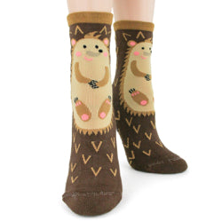 Hedgehog; Slipper Socks w/Non-skid Sole,  Women's Crew