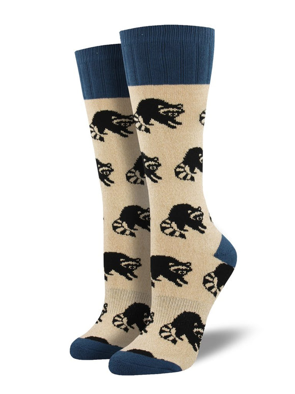 Raccoon, Outlands Collection, Women's Boot Sock