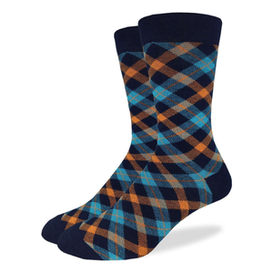 Aqua Plaid, Dress Sock
