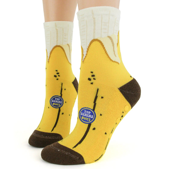 Banana; Slipper Socks w/Non-skid Sole,  Women's Crew