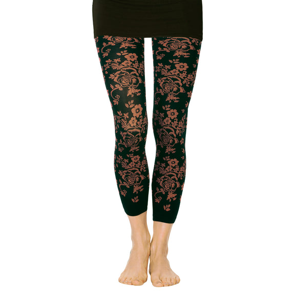 Floral Print Microfiber Footless Tights