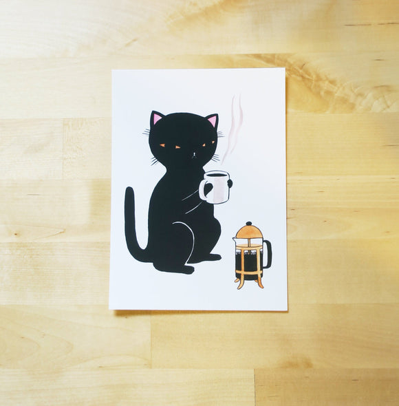 Postcard - Coffee Cat | Mini Print - 5x7