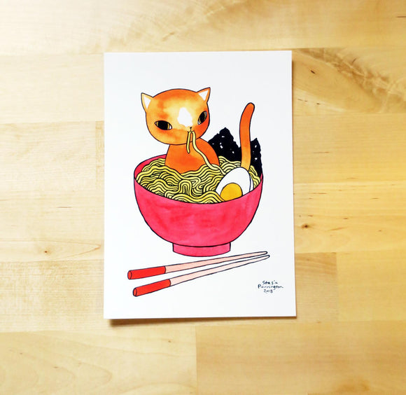 Postcard - Ramen Cat | Mini print - 5x7