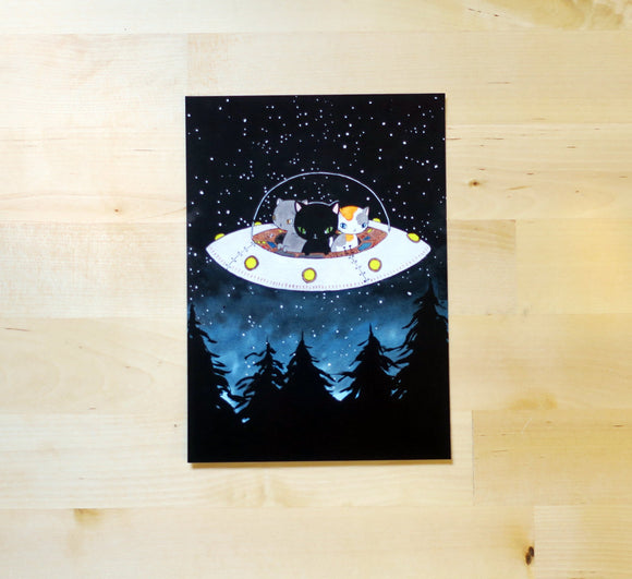 Postcard - UFO Cats | Mini Print - 5x7