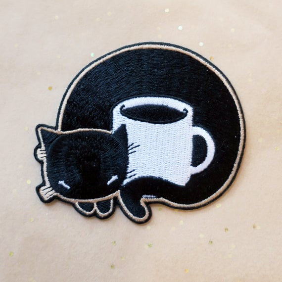 Coffee Cat - embroidered iron on patch