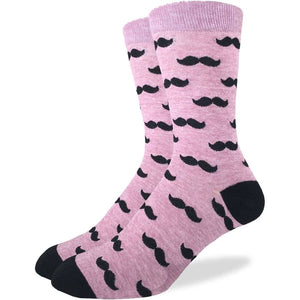 Purple Mustache, Large (7-12 Men's) Crew