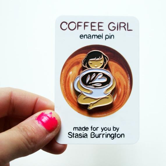 Coffee Girl enamel pin - Ultra Cute Coffee Lover Pin