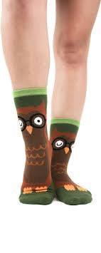 Foot Traffic Owl Slipper Socks w/non skid soles