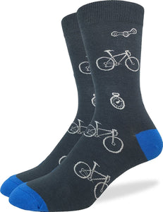Grey & Blue Bicycles, Large (7-12 Men's) Crew