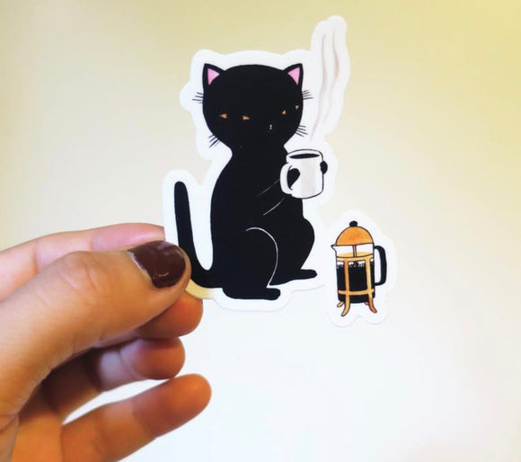 Vinyl Sticker - Coffee Cat