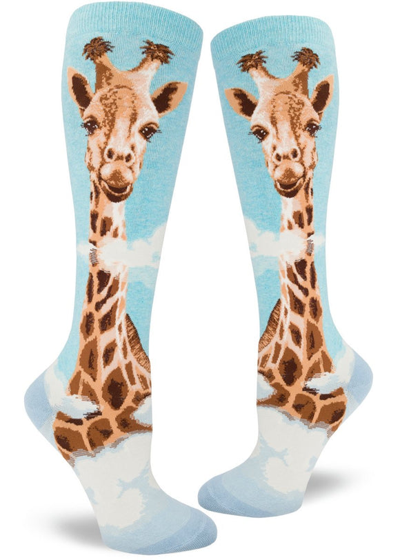 Giraffe, Roll Top Women's Knee-high