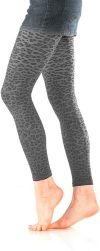 Leopard Textured Footless Tights