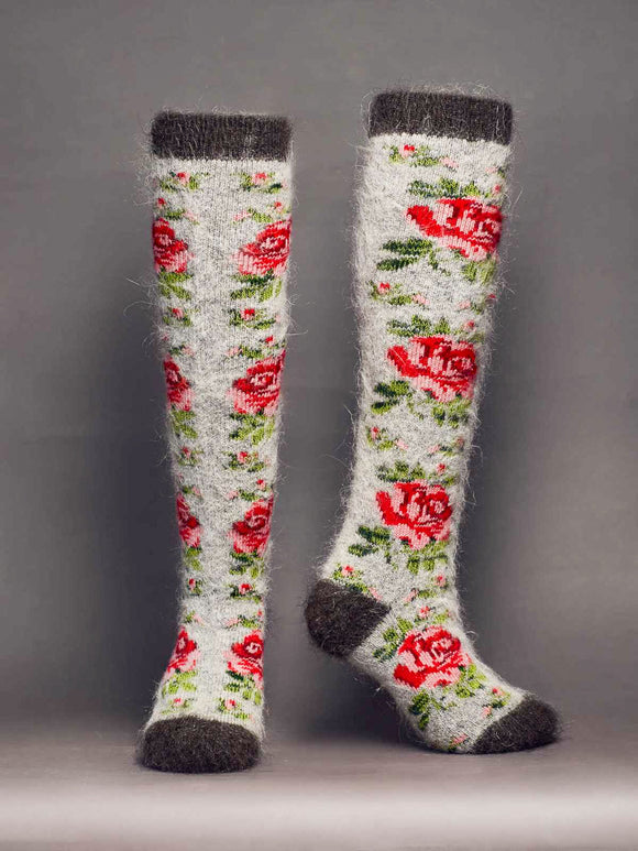 Rose Garden, Heavy Goat Wool, Women's Knee-High