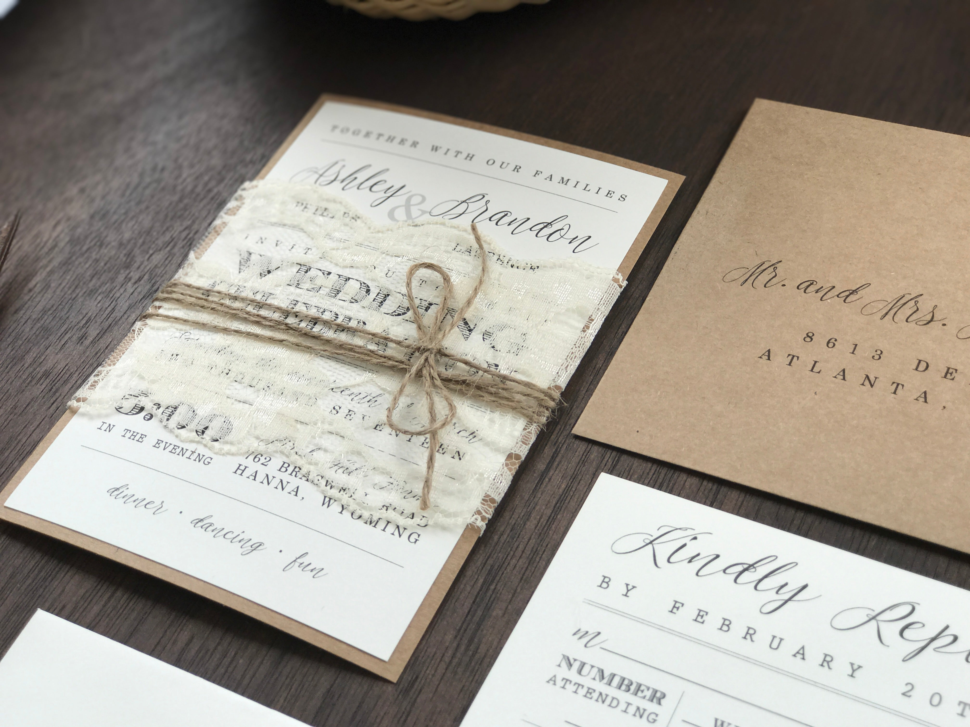 Rustic Lace Wedding Invitation with twine