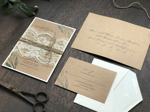 Greenery Wedding Invitation with ivory lace and twine