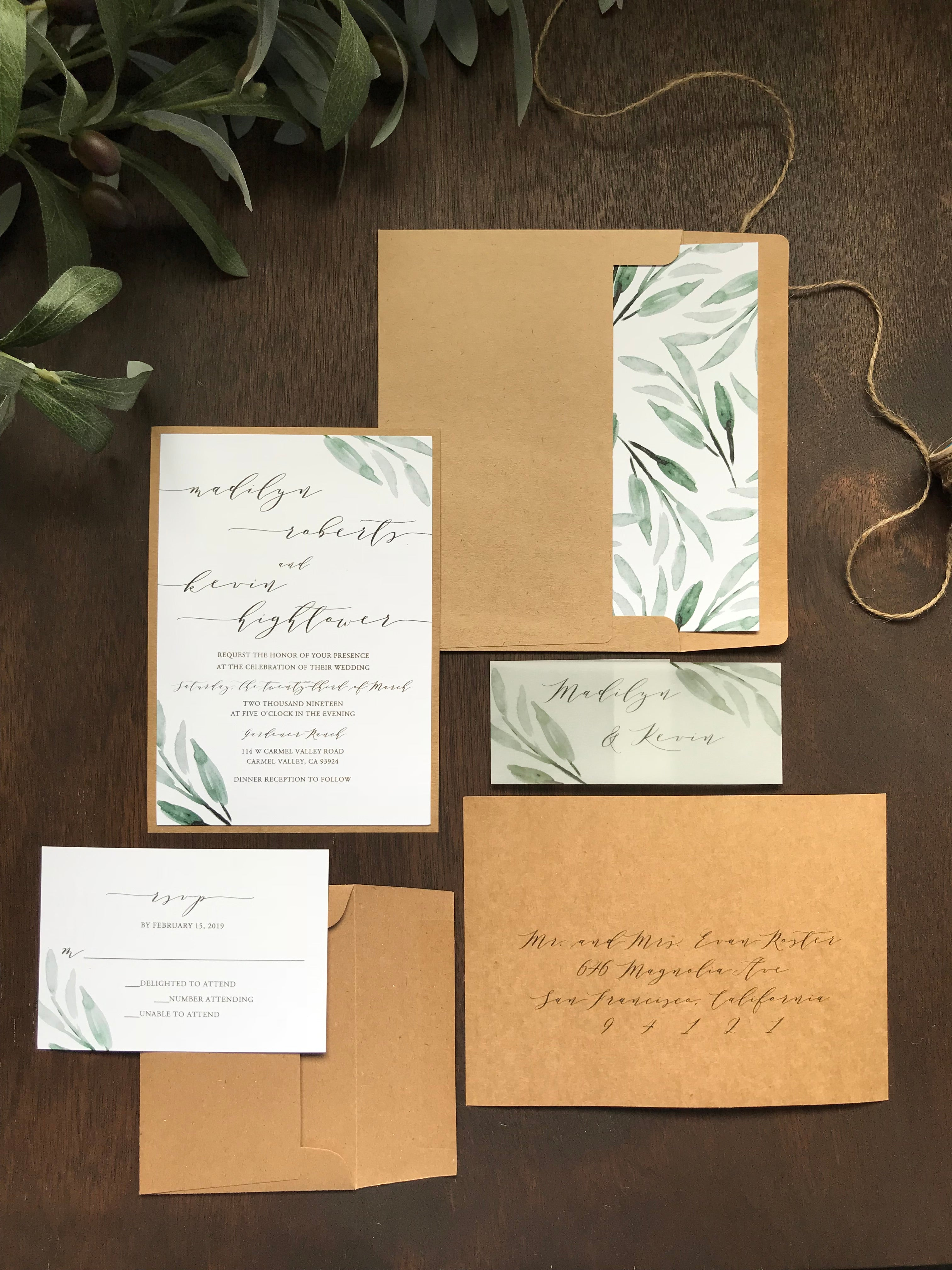 Rustic Greenery Wedding Invitation with Vellum belly band