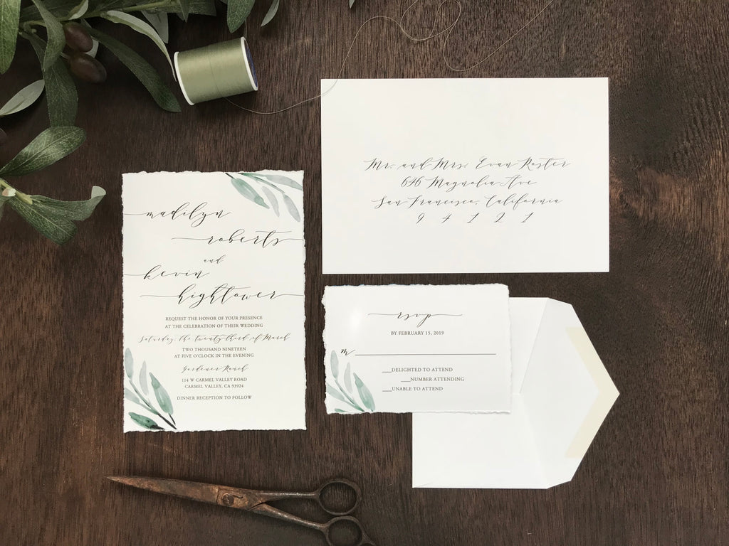 Deckled Edge Greenery Wedding Invitation
