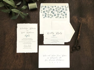 Deckled Edge Wedding Invitation with Eucalyptus