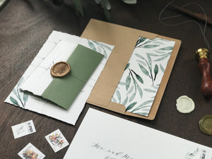Deckled Edge Wedding Invitation with Wax Seal and Greenery