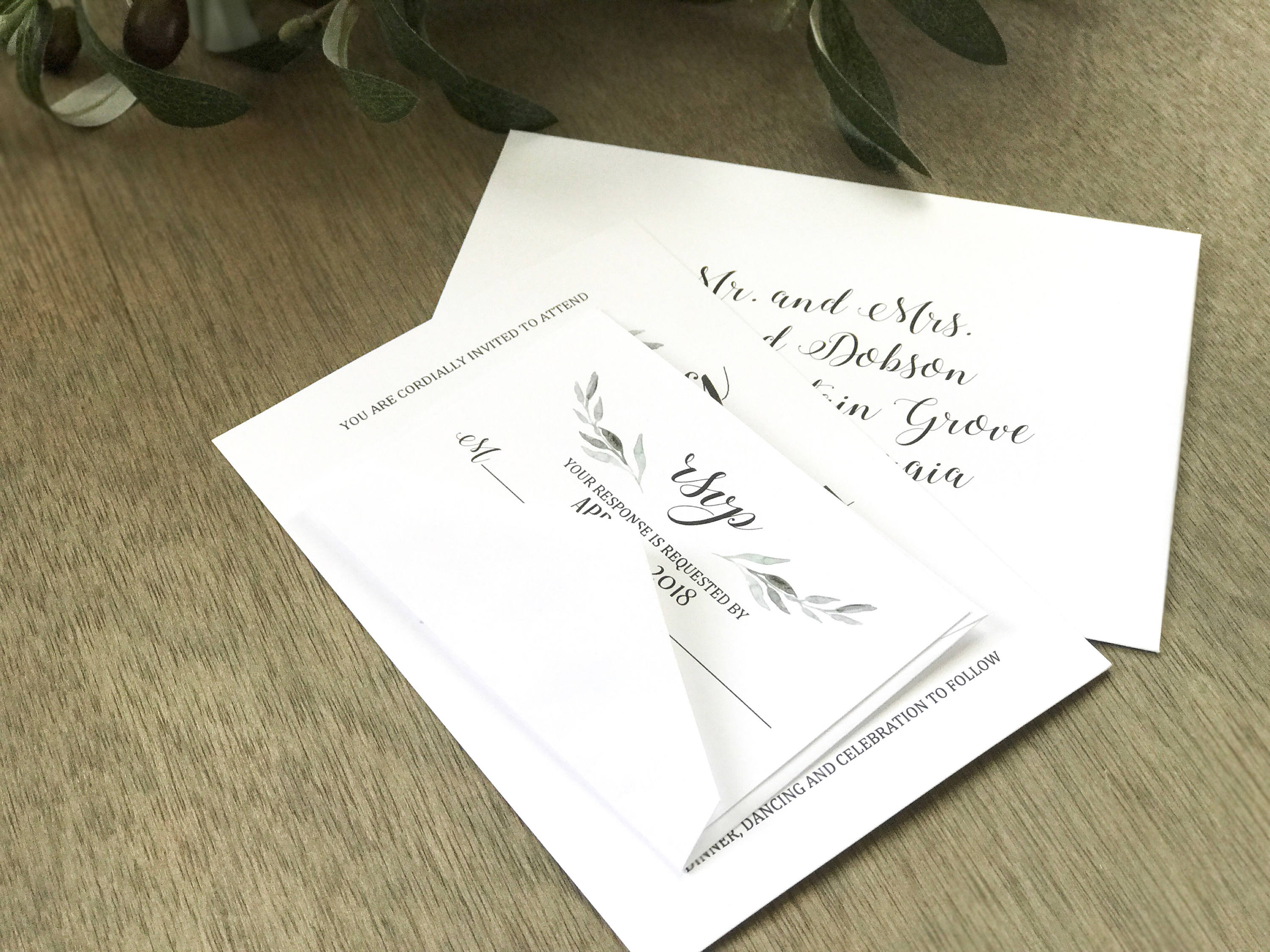 Minimalist Greenery Wedding Invitation