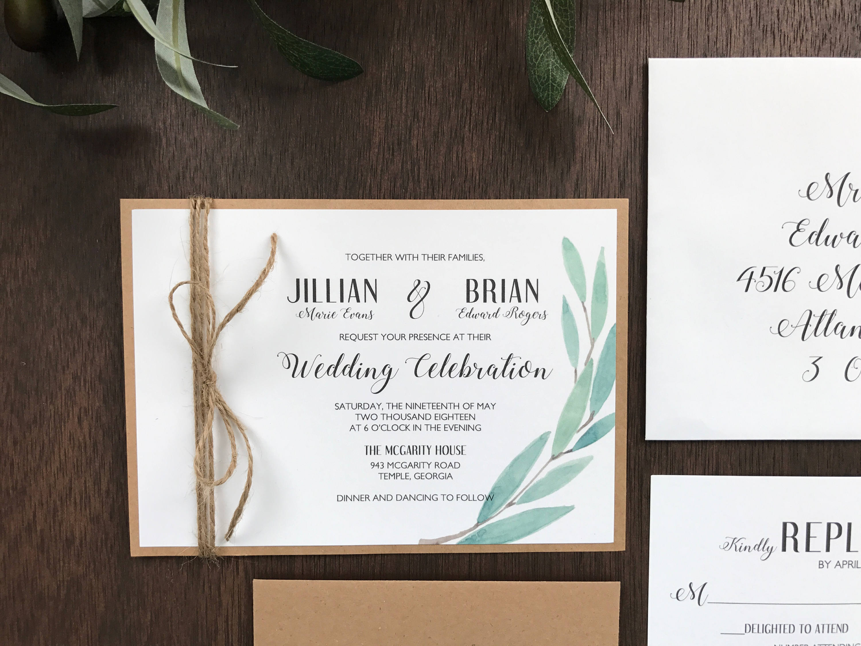 Greenery Wedding Invitation with twine