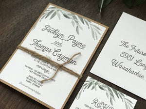 Farm Greenery Wedding Invitation with twine