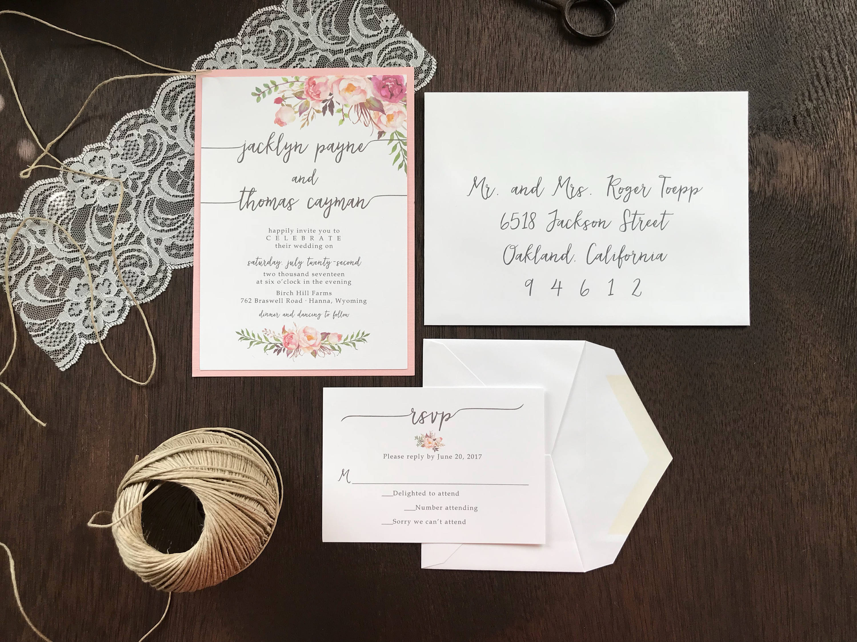 Pink Floral Wedding Invitation with Lace