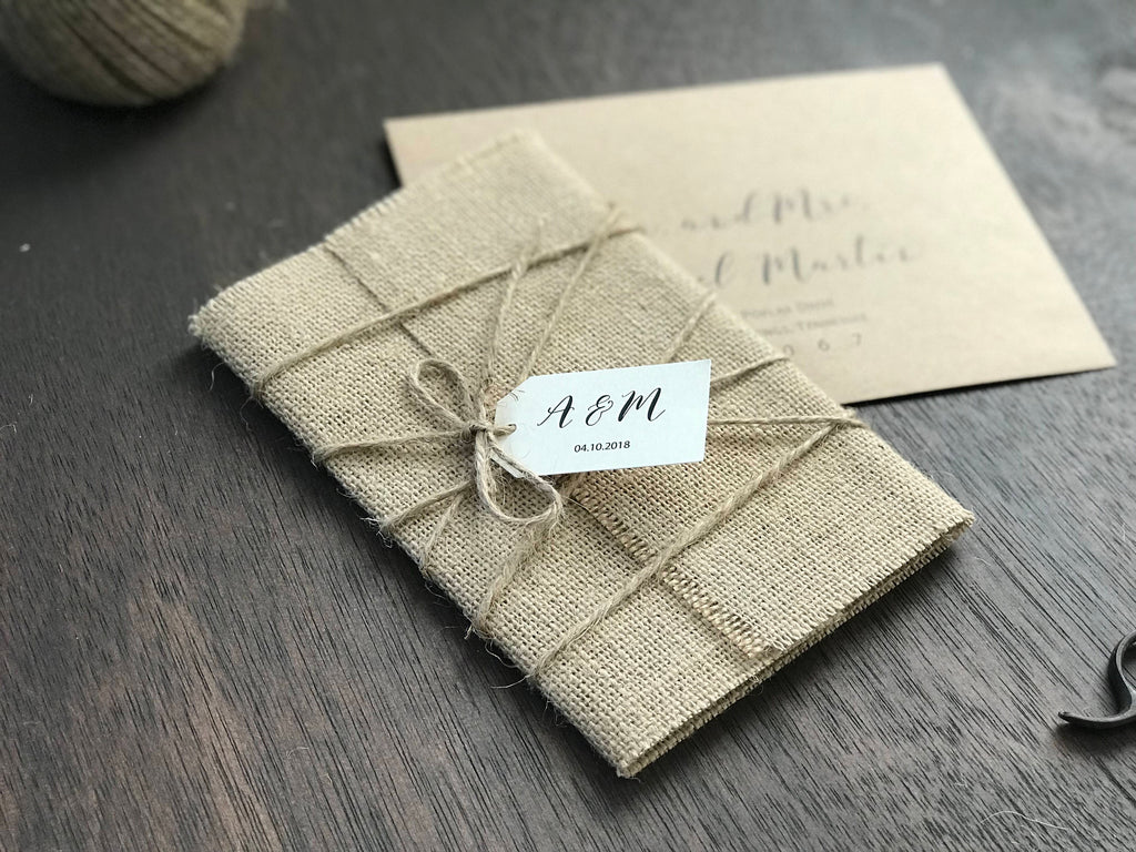 Burlap Wrap Wedding Invitation with twine