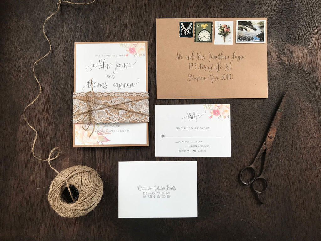 Floral Wedding Invitation with Lace Belly Band