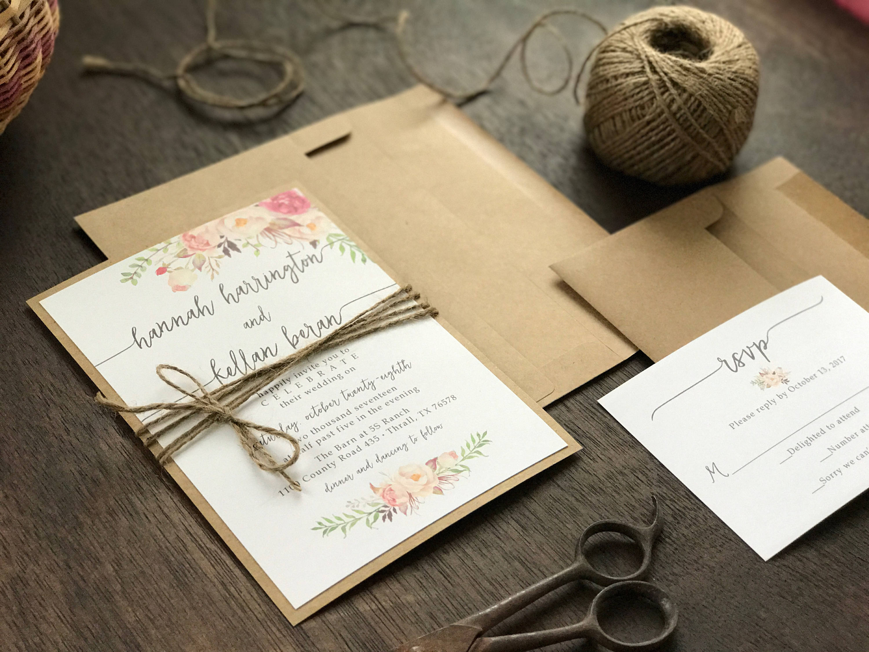 Floral Wedding Invitation with twine