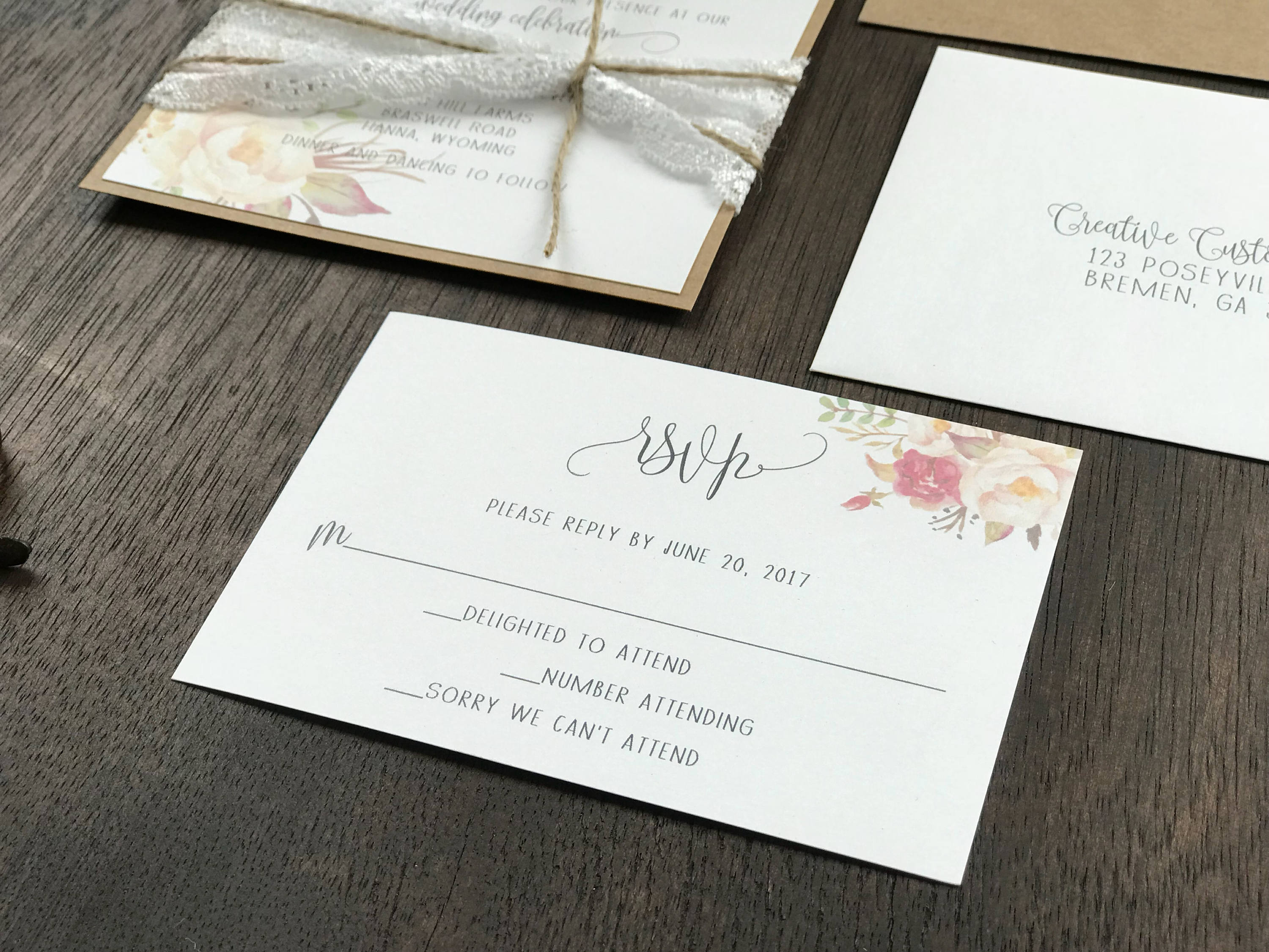 Floral Wedding Invitation With Ivory Lace And Twine