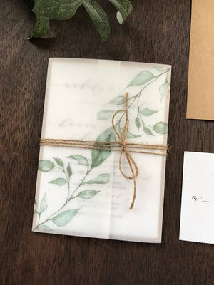Vellum Wedding Invitation with Greenery and twine